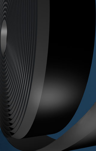 Abrasion resistant beveled edge skirt board rubber