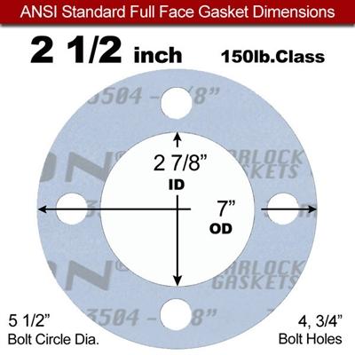 Garlock Gylon® 3504 Full Face Gasket - 150 Lb. - 1/8 ...